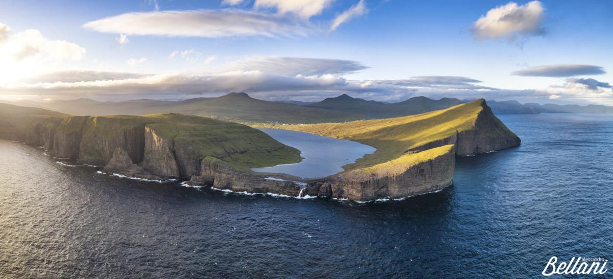 Aerial view of Sorvagsvatn FAROE ISLANDS