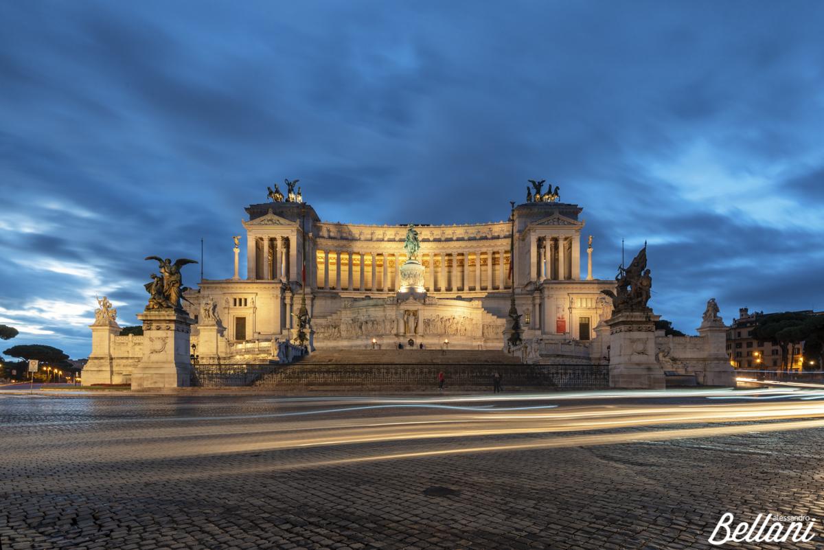Altare della Patria also known as Vittoriano and light trails at dusk ROME