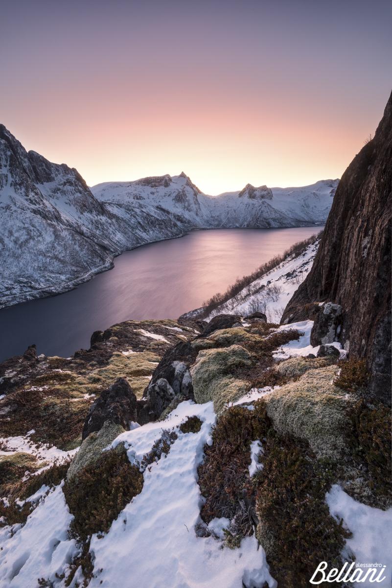 Beautiful sunset on fjord of Senja NORWAY