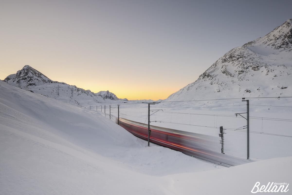 Bernina Express at Bernina Pass