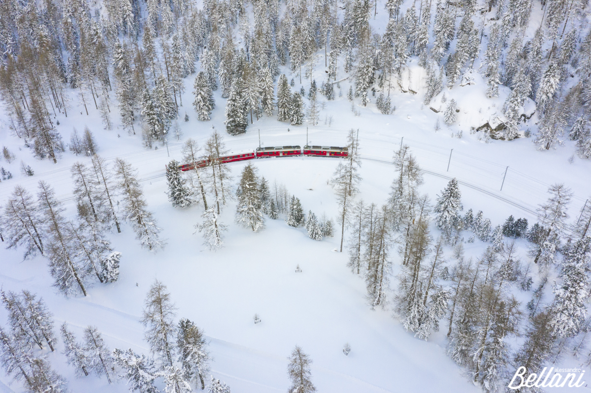 Bernina Express in winter season SWITZERLAND