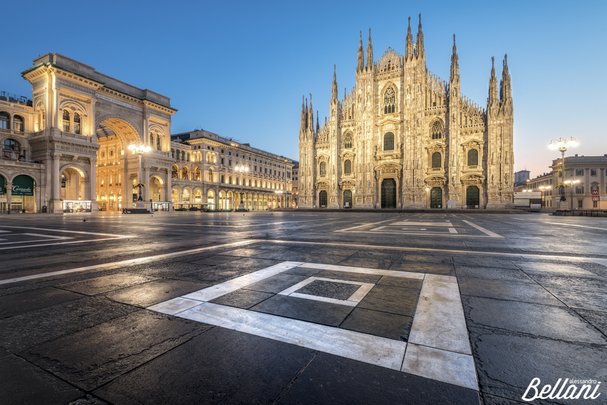 Dusk at the square of the gothic duomo MILAN