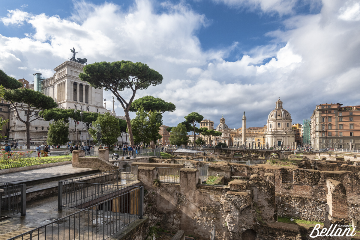 Forum Romanum and in backgrond column of Traiano and the churches of Santa Maria of Loreto and Santissimo name of Maria ROME