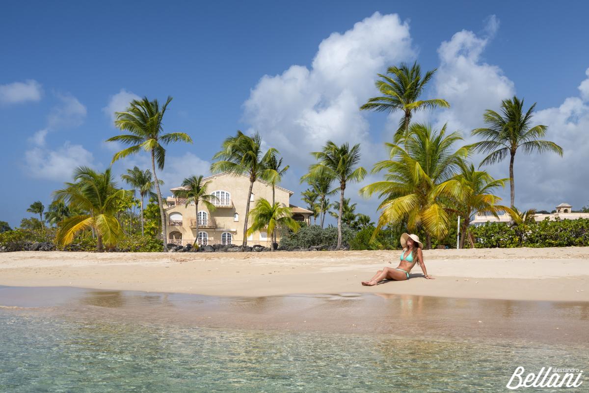 Girl sunbathes on the beach BARBADOS ISLAND