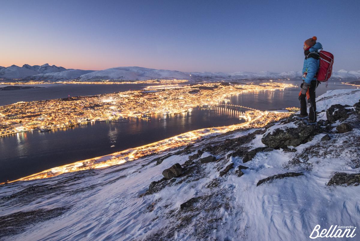 Hiker admiring Tromsø, NORWAY