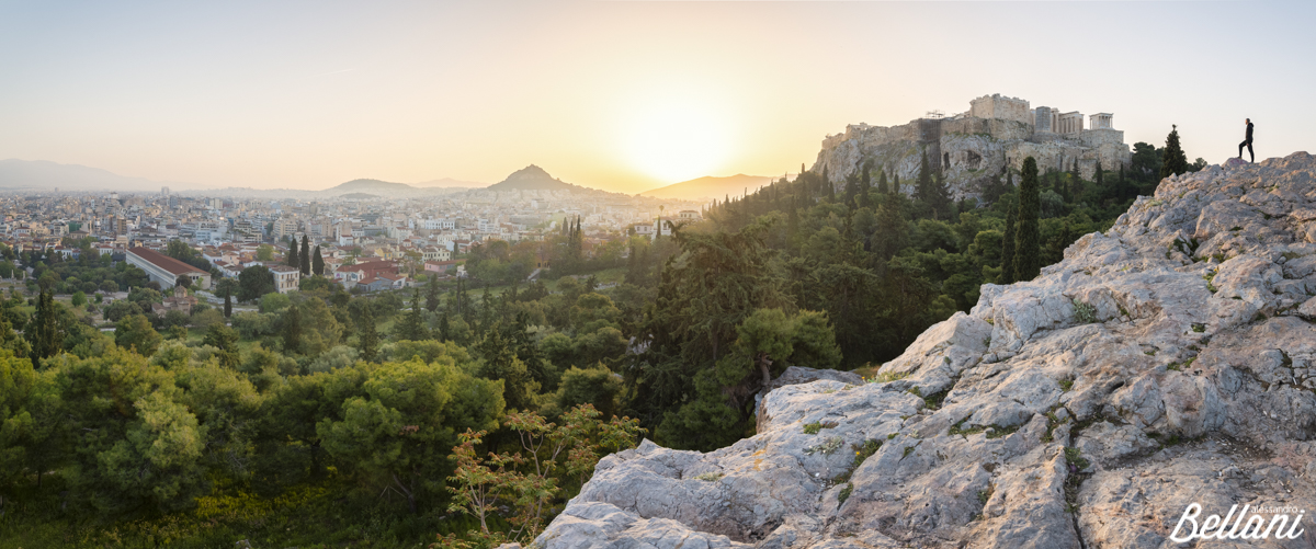 Hiker admiring the cityscape of Athens GREECE