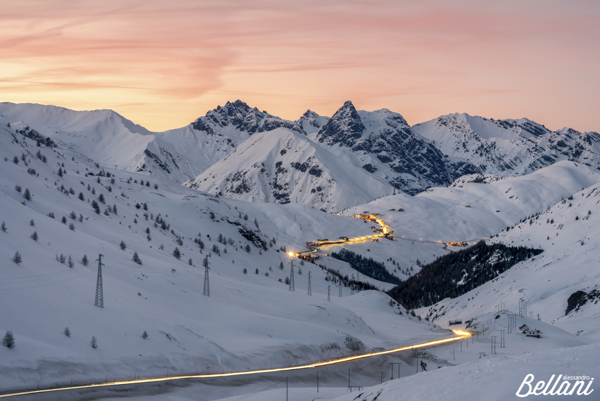 Light trails at Foscagno Pass