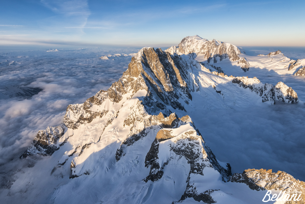 Monte Bianco group after sunrise ITALY