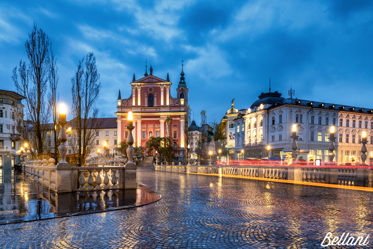 Old town, with the iconic Franciscan Annunciation church on the background LJUBLJIANA_