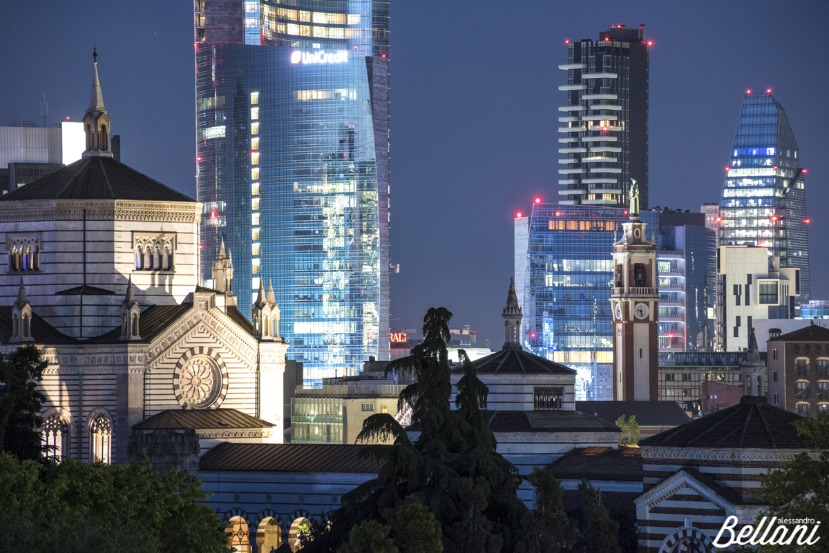 Panoramic view of Cimitero Monumentale and Unicredit Tower MILAN
