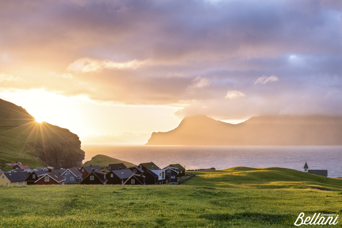 Ray of sun on the village FAROE ISLANDS