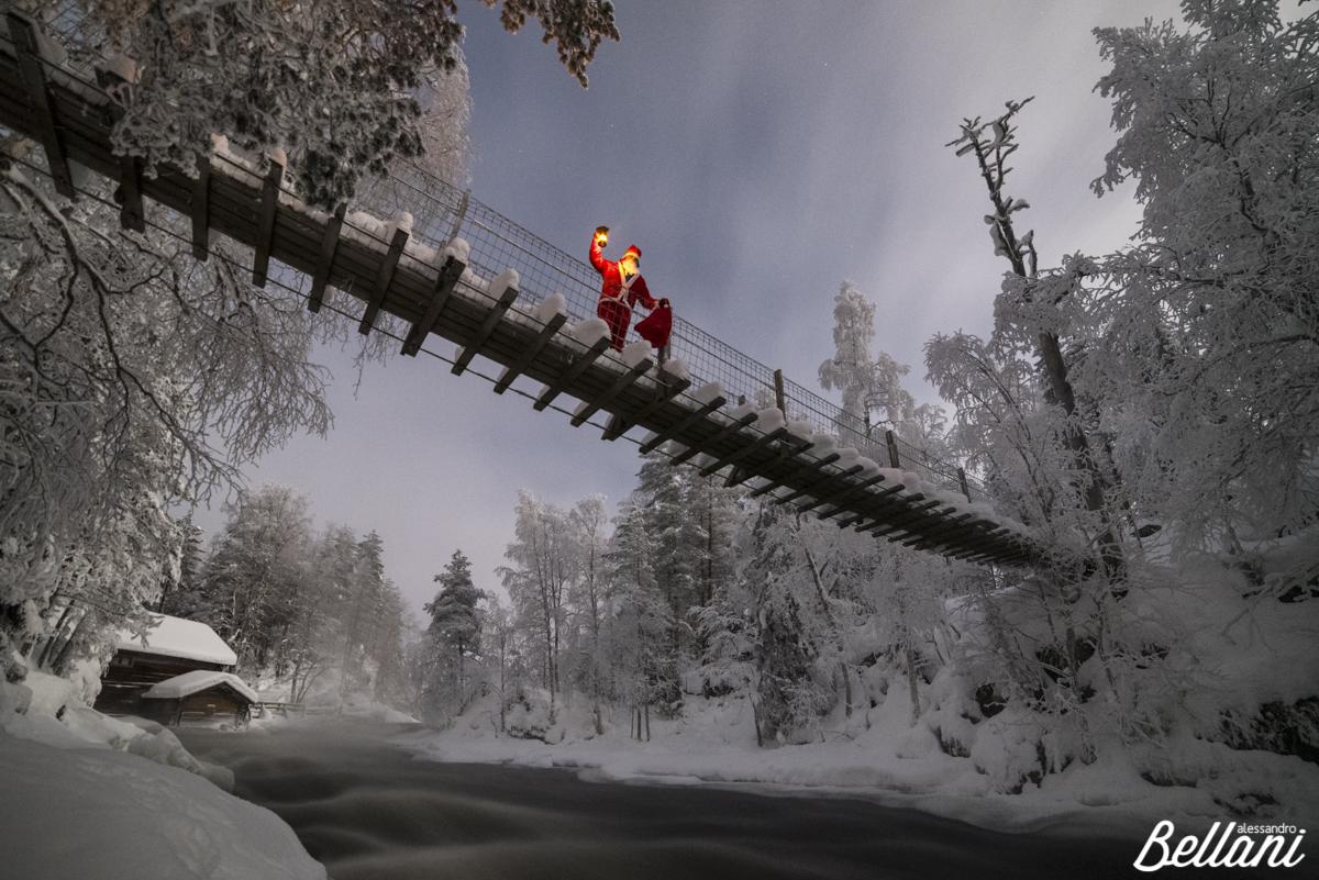 Santa Claus on the rope bridge FINLAND