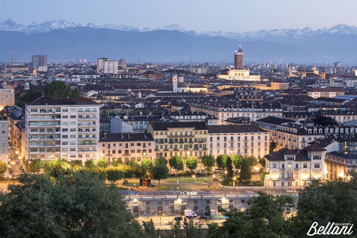 The Alps and cityscape of TURIN