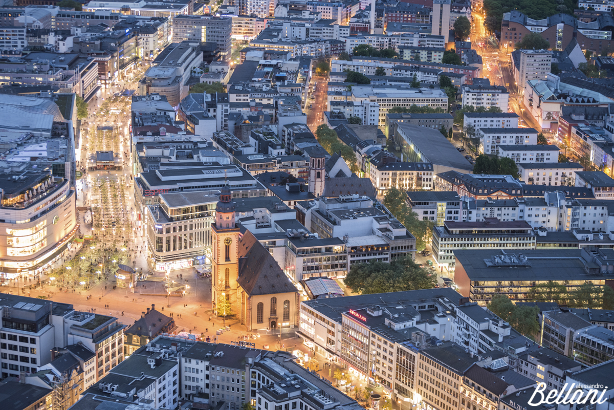 The St. Catherine's at dusk from Main Tower FRANKFURT