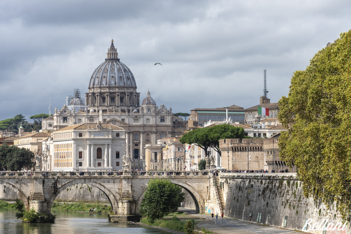 The view on Tiber River with bridge Sant'Angelo and Basilica di San Pietro ROME