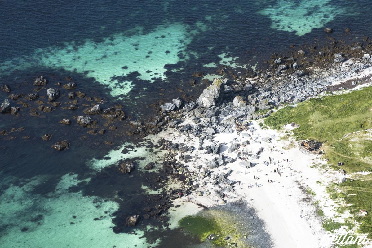 Top view of the sandy beach of Vaeroy LOFOTEN ISLANDS