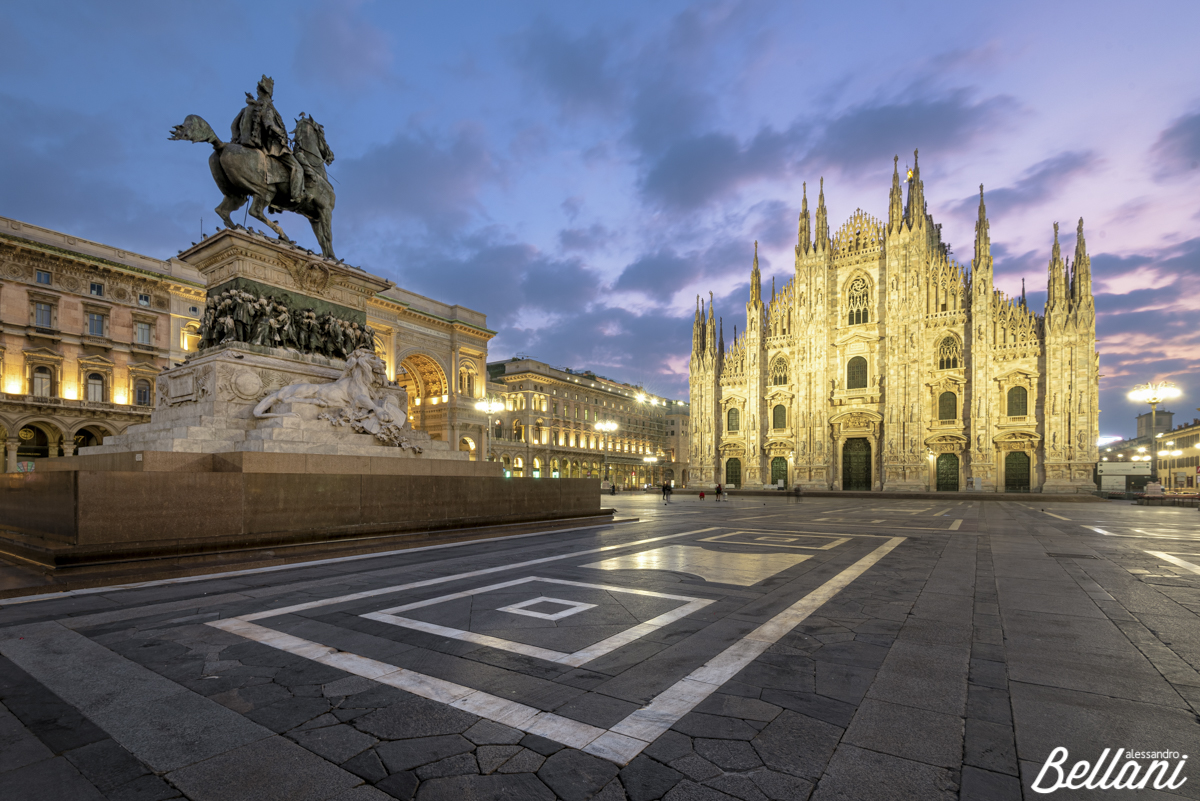 View of the square and the gothic Cathedral MILAN