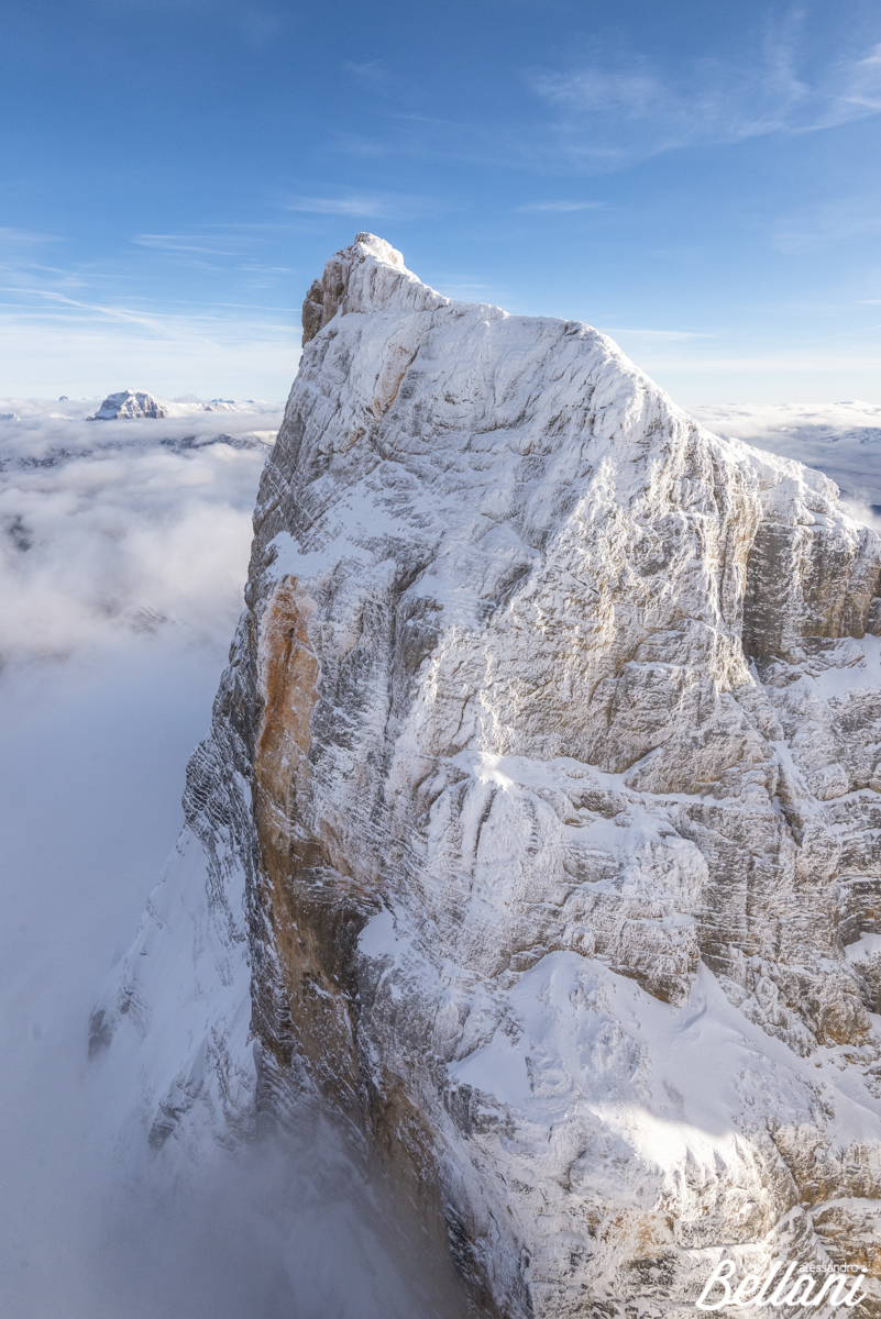 Winter aerial view of Monte Pelmo ITALY